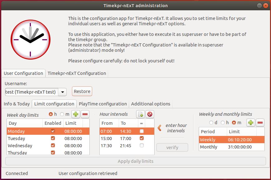 Timekpr-nExT Administration application