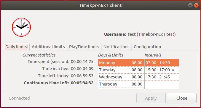 Timekpr-nExT Client application